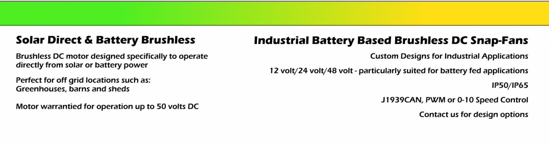 Brushless DC Solar Battery Ventilation Fans